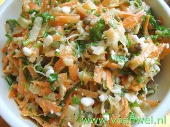 -Salade met linzenkiemen en (wilde) kruiden