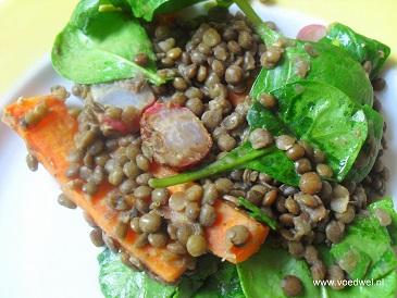 -Linzen met geroosterde groenten